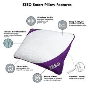 image of smart pillow with sleep tracker and sleep music.